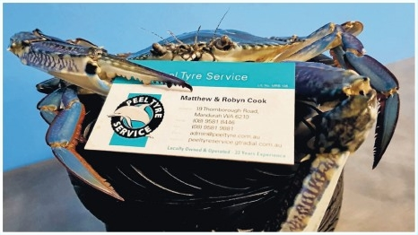 crab holding business card
